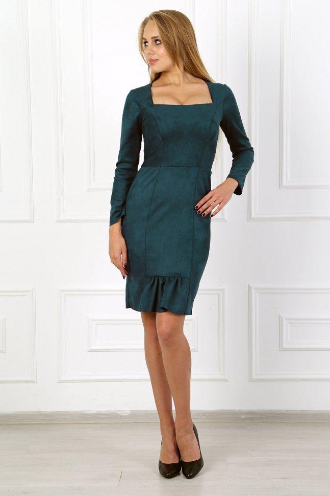 Платье замшевое Аксель (зеленое) фото