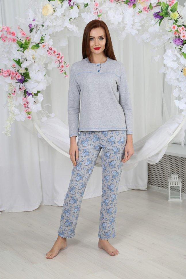 Пижама трикотажная Тильда (голубые цветы) фото