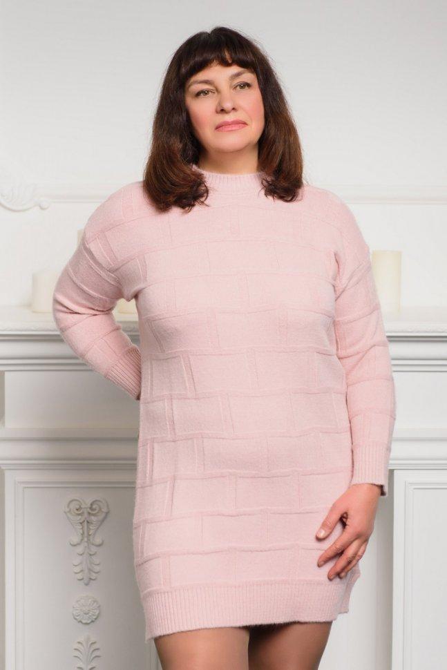 Платье трикотажное Селина (розовое)