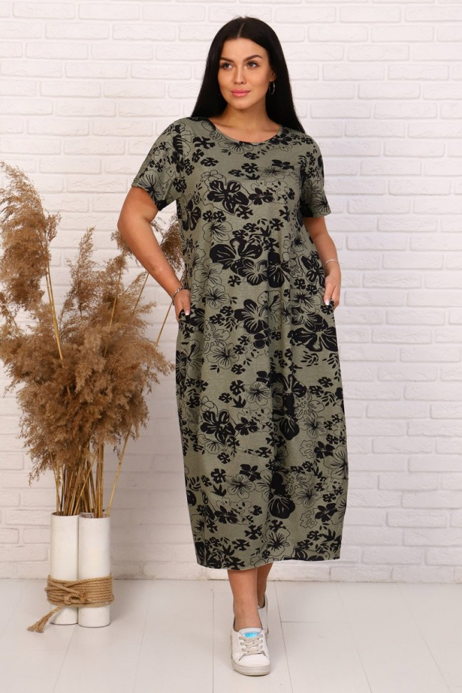 Платье трикотажное Китти (хаки)