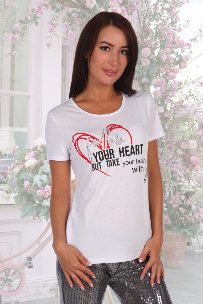 Футболка трикотажная Сердце (белая) фото