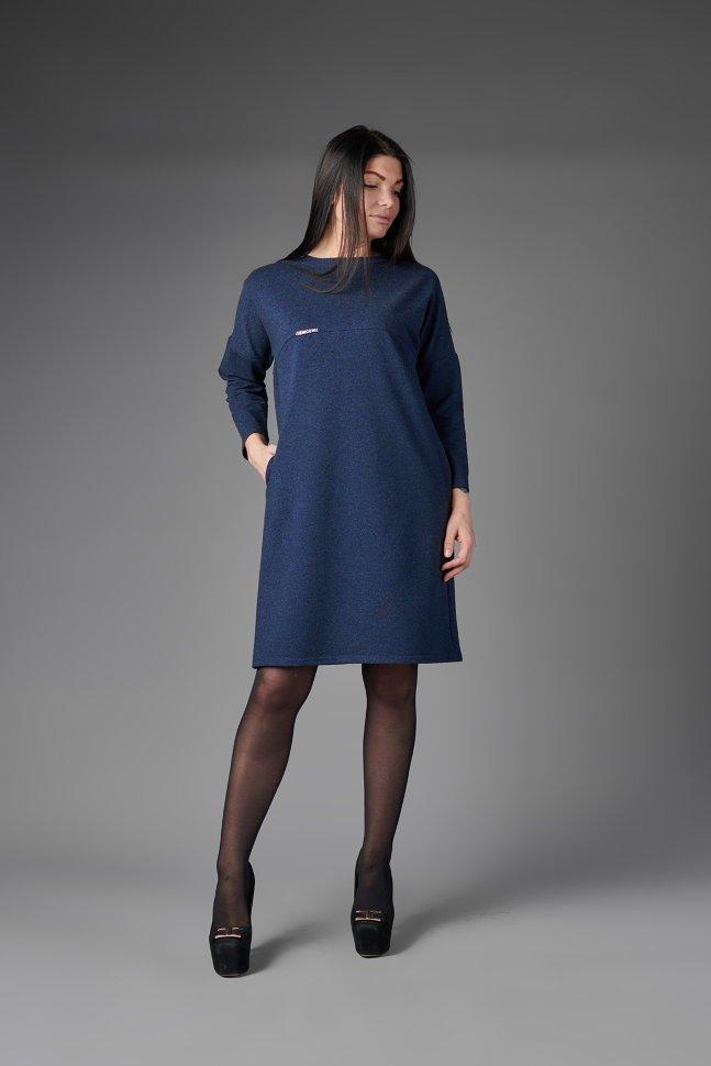 Платье трикотажное Детта (синее) фото