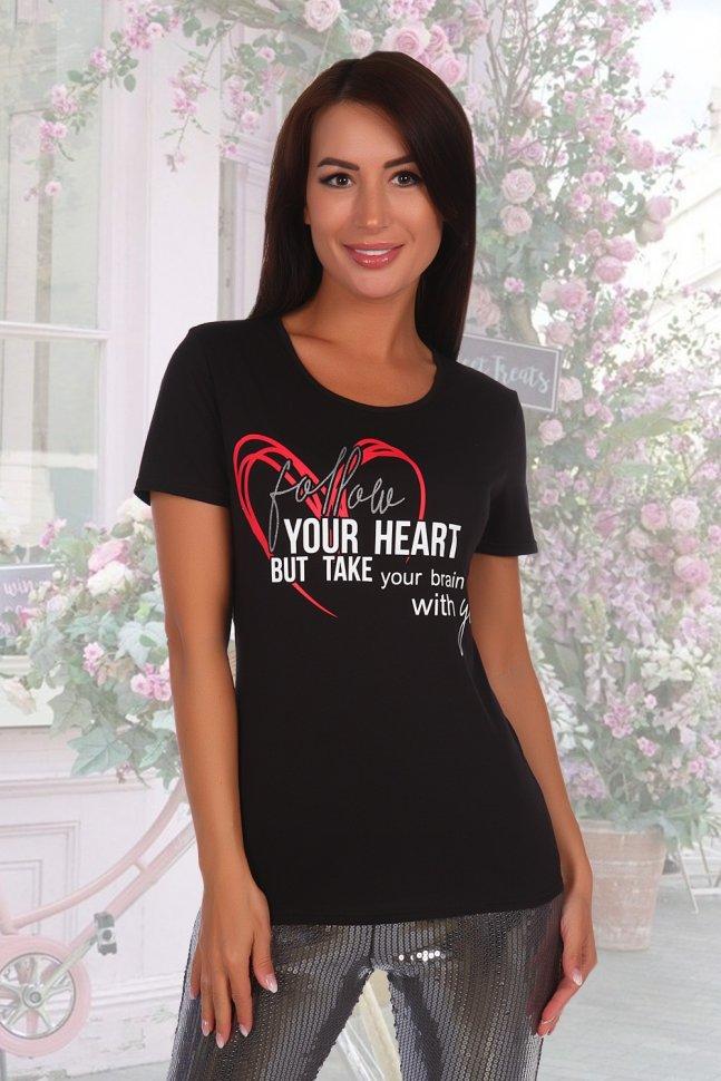 Футболка трикотажная Сердце (черная) фото