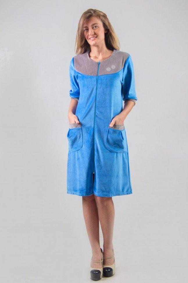 Халат велюровый Скай (голубой) фото