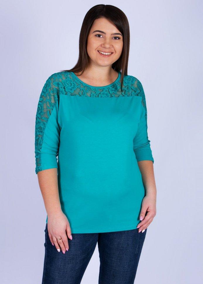 Блуза вискозная Марьяна (бирюзовая) фото