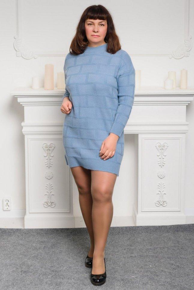 Платье трикотажное Селина (голубое)
