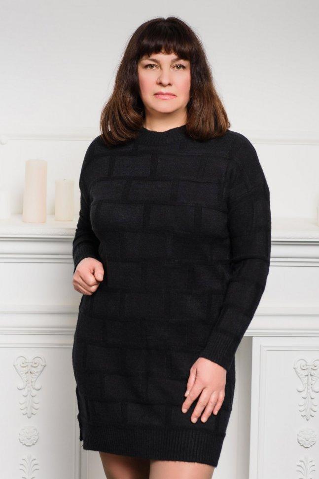 Платье трикотажное Селина (черное)