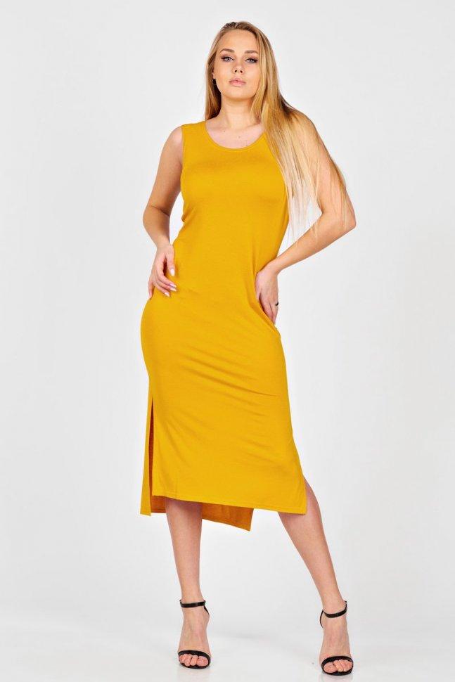 Платье вискозное Ланей (горчичное) фото