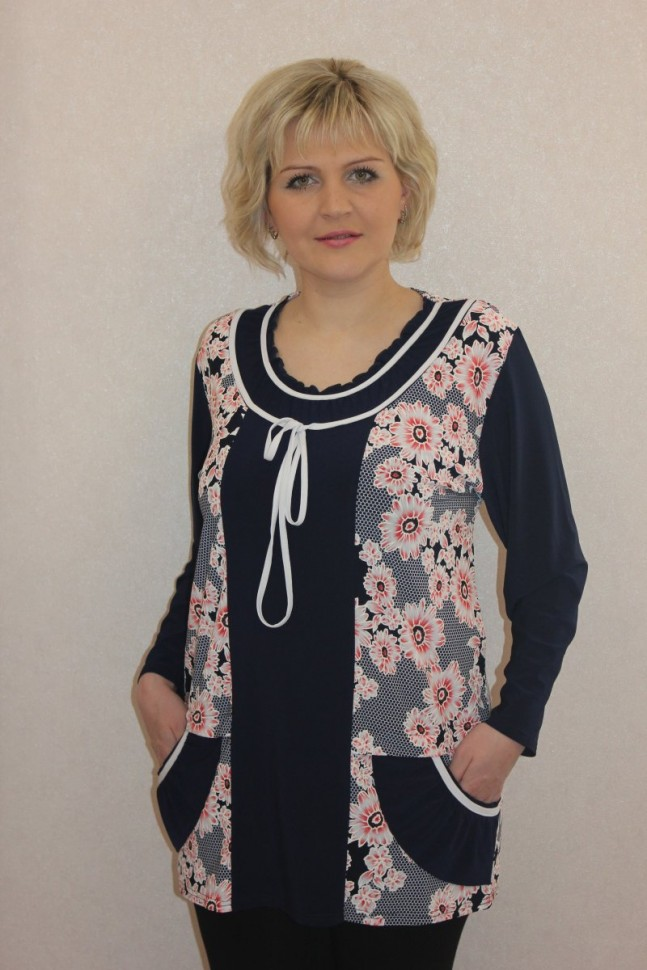 Туника трикотажная Патси (розовые цветы) фото