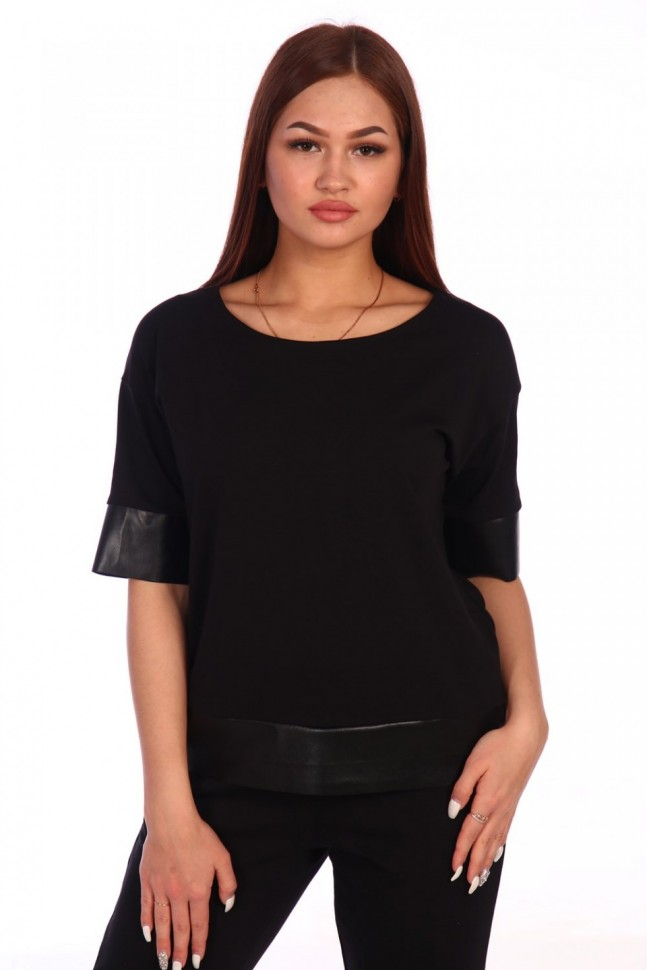 Блуза трикотажная Карина (черная) фото