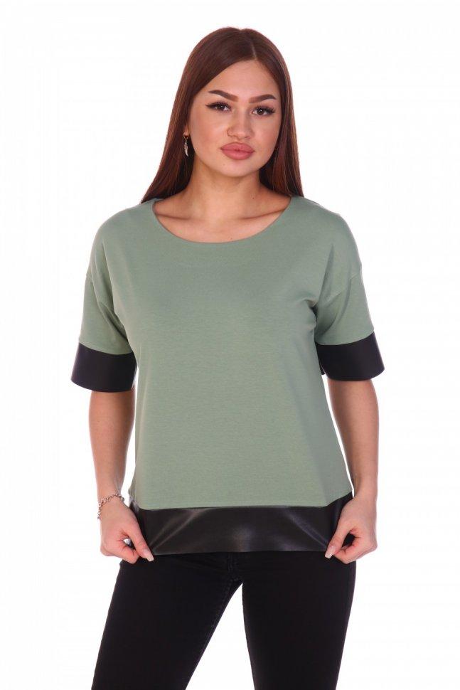 Блуза трикотажная Карина (зеленая) фото