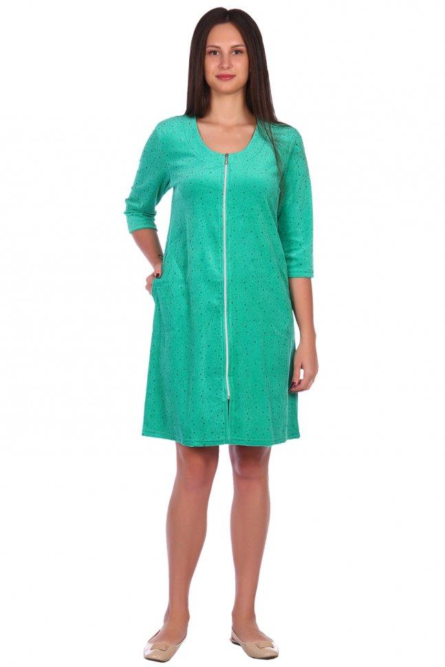Халат велюровый Марион (зеленый)
