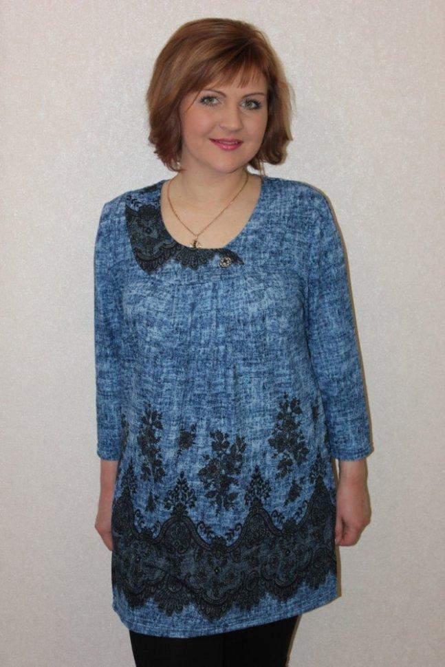 Туника трикотажная Северина (синяя) фото