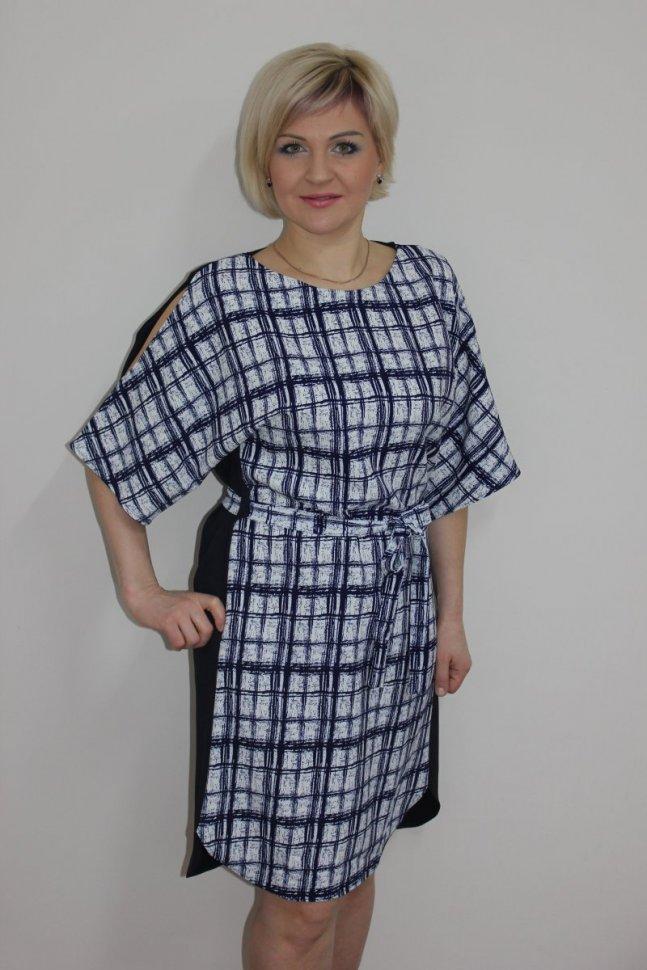 Платье трикотажное Розет (синее) фото