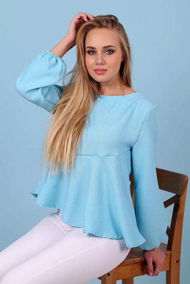 Блуза льняная Миртл (голубая) фото