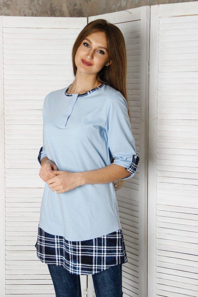 Туника трикотажная Маргарет (синяя клетка) фото