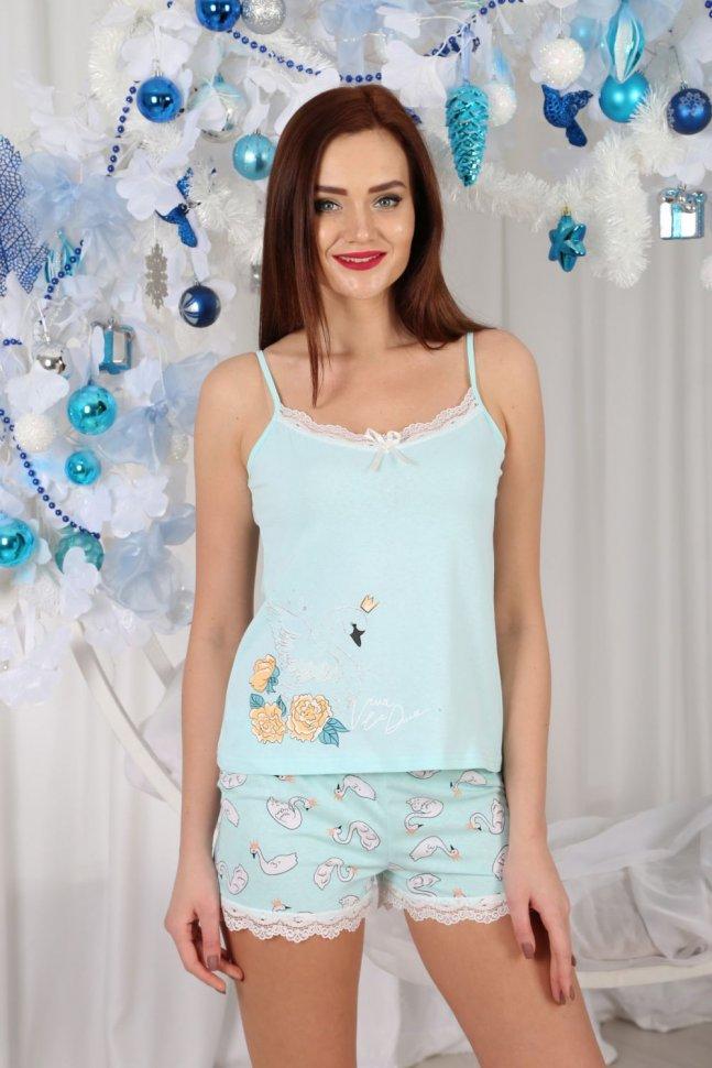 Пижама трикотажная Дора (голубая) фото