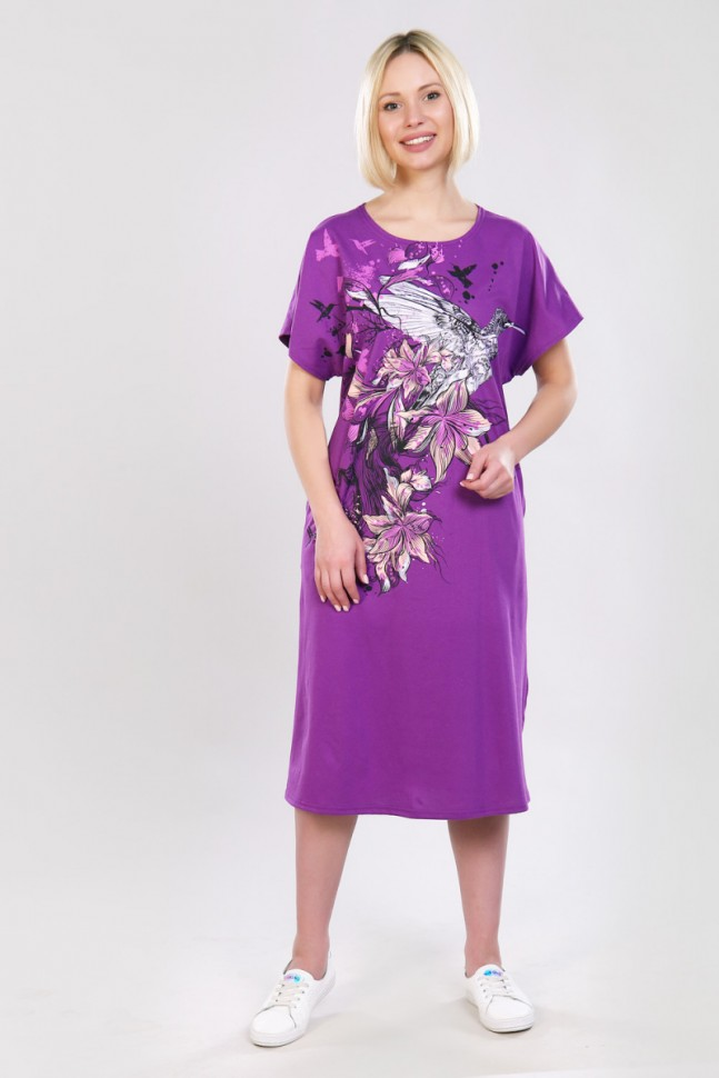 Платье трикотажное Онндрия (фиолетовое) фото
