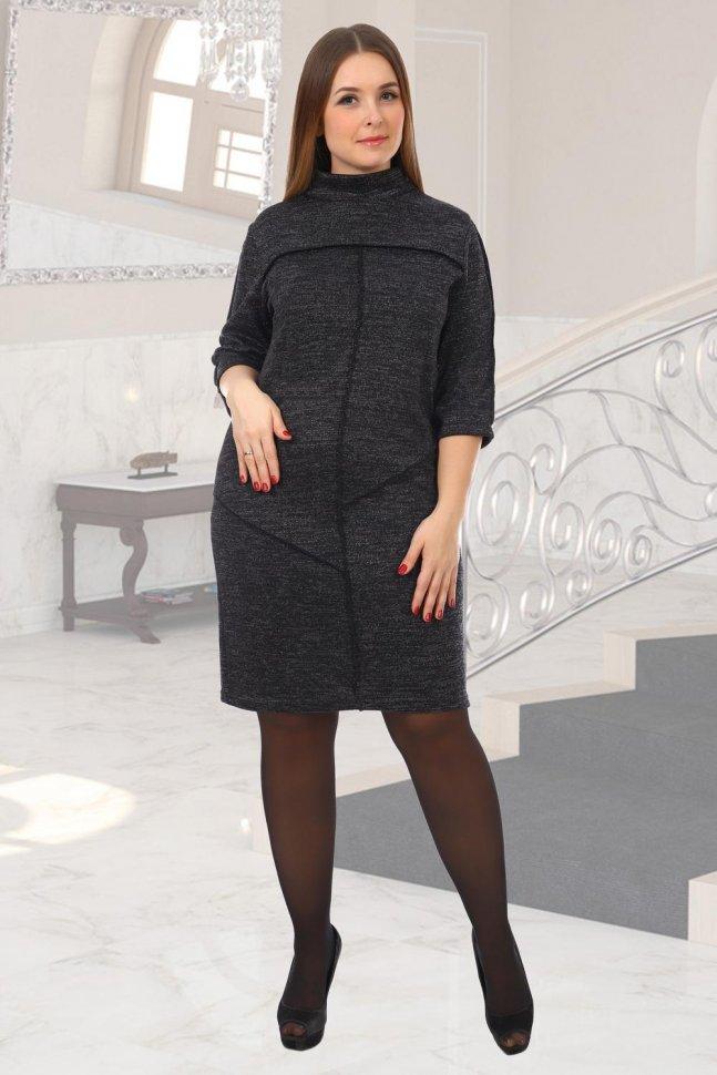 Платье трикотажное Шлейф (черное) рр