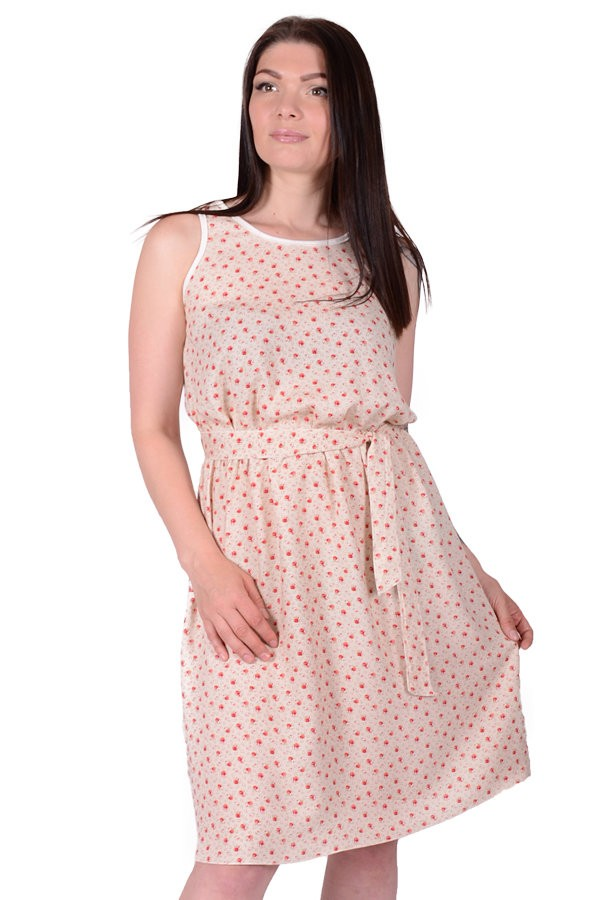 Платье штапельное Алеида (бежевое) фото
