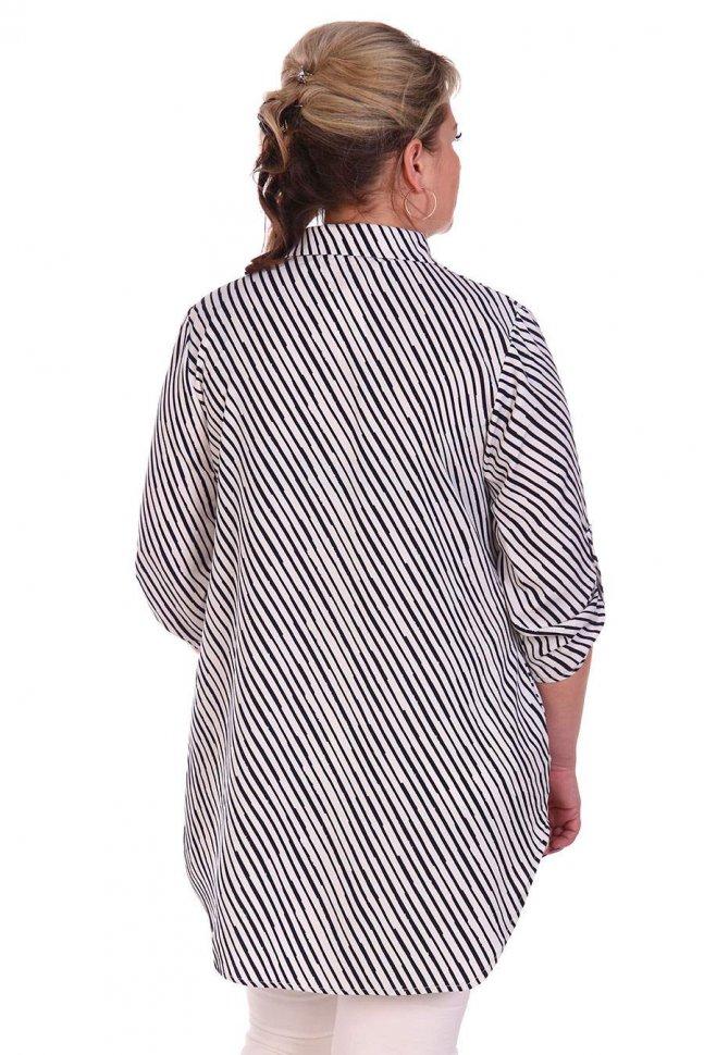 Блуза трикотажная Кристайн (сине-белая)