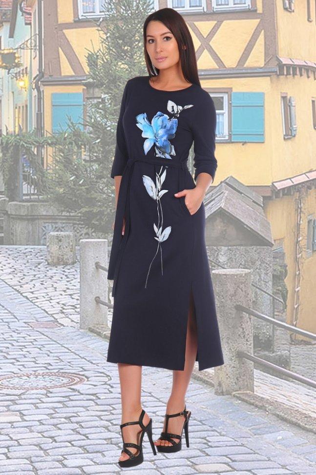 Платье трикотажное Олив (голубой цветок) Инсантрик