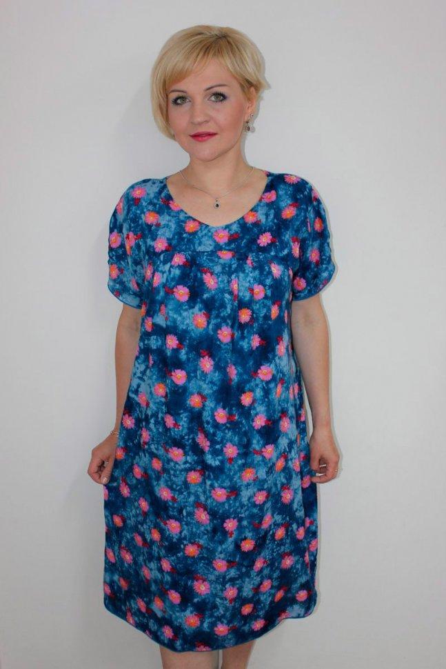 Платье штапельное Алла (синее) фото