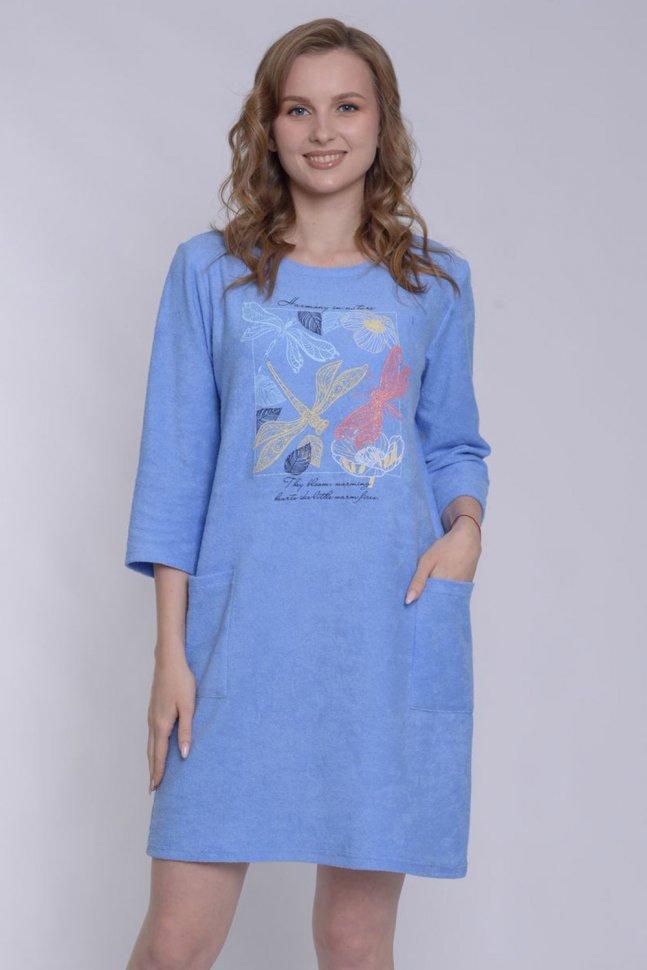 Туника махровая Эвелина (голубая)