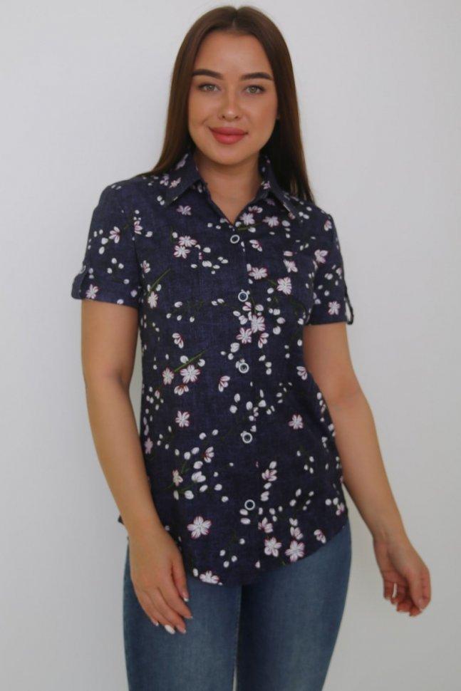 Рубашка трикотажная Анжела (темно-синяя) фото