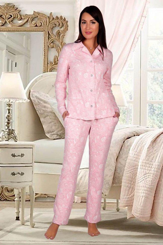 Пижама трикотажная Вензель (розовая) фото