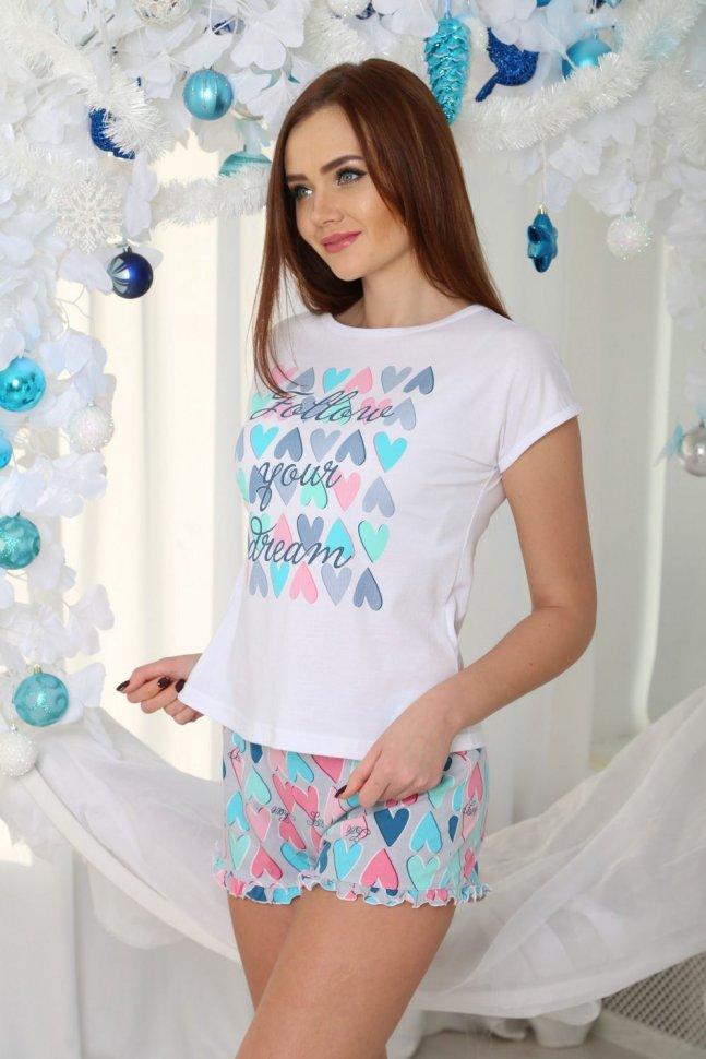 Пижама трикотажная Каролайн (сердечки) фото