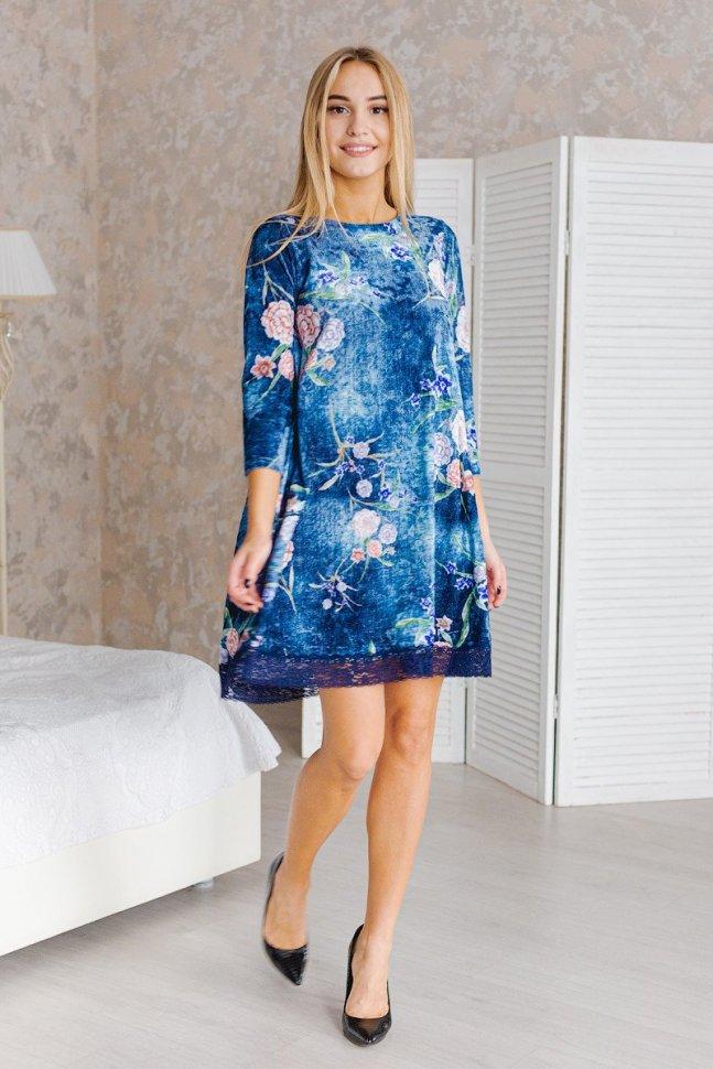 Платье велюровое Мерфи (сине-голубое) фото