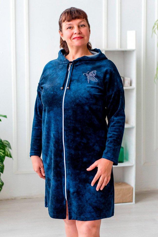 Халат велюровый Мадина (темно-синий)