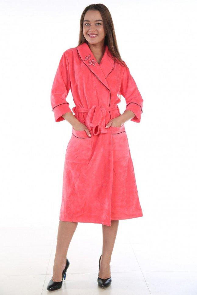 Халат велюровый Линда (розовый) фото