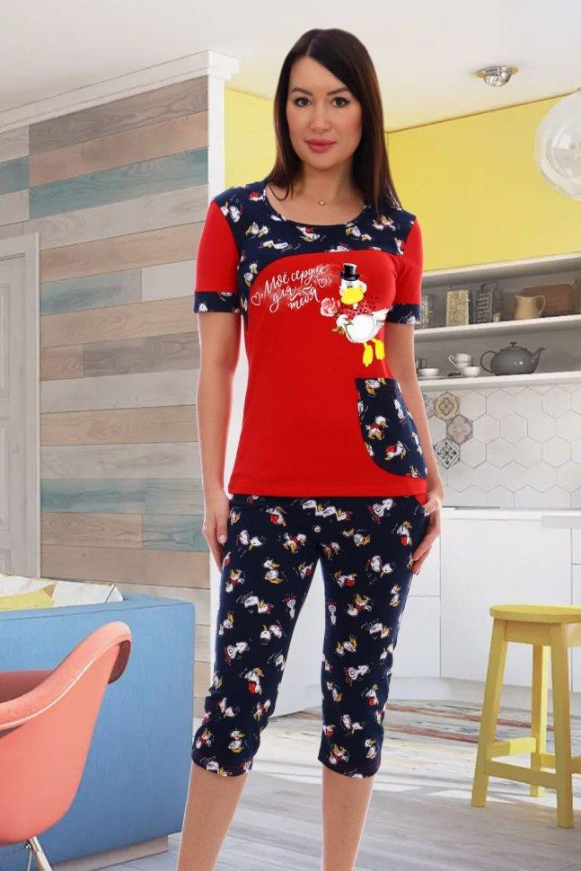 Пижама трикотажная Пэм (красная) фото