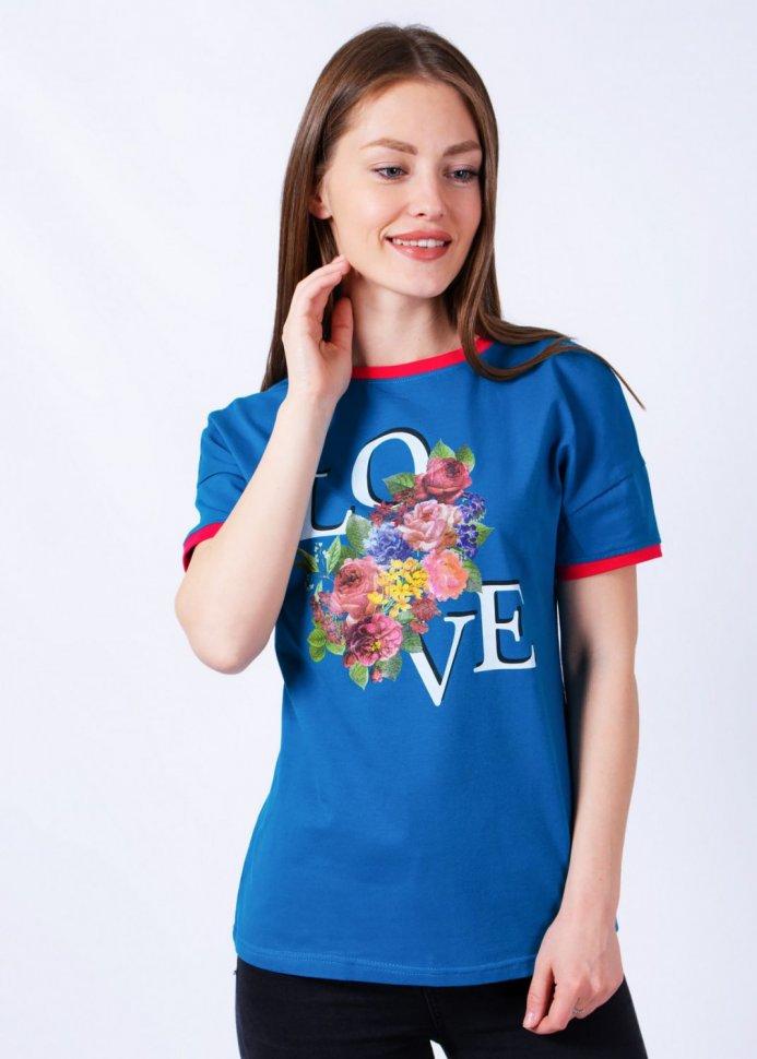Футболка трикотажная Фрея (синяя) фото