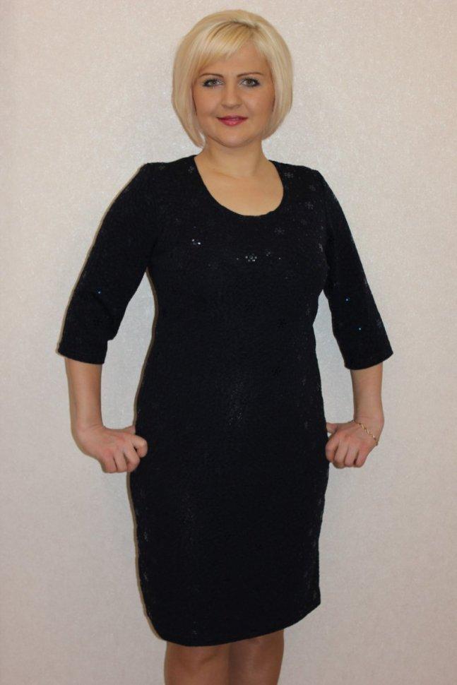 Платье трикотажное Лолли (синее) фото