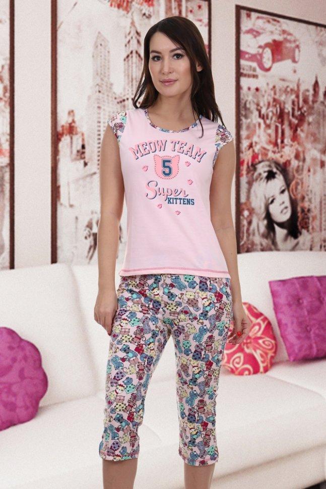 Пижама трикотажная Адриана (персиковая) фото