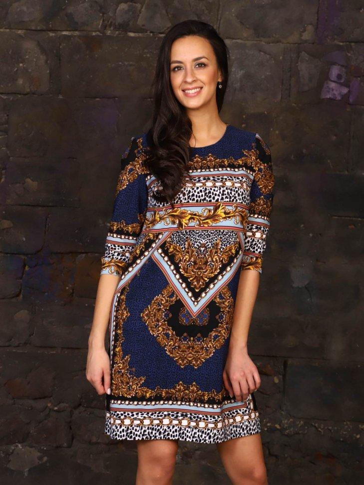 Платье трикотажное Роксэйн (синее) фото