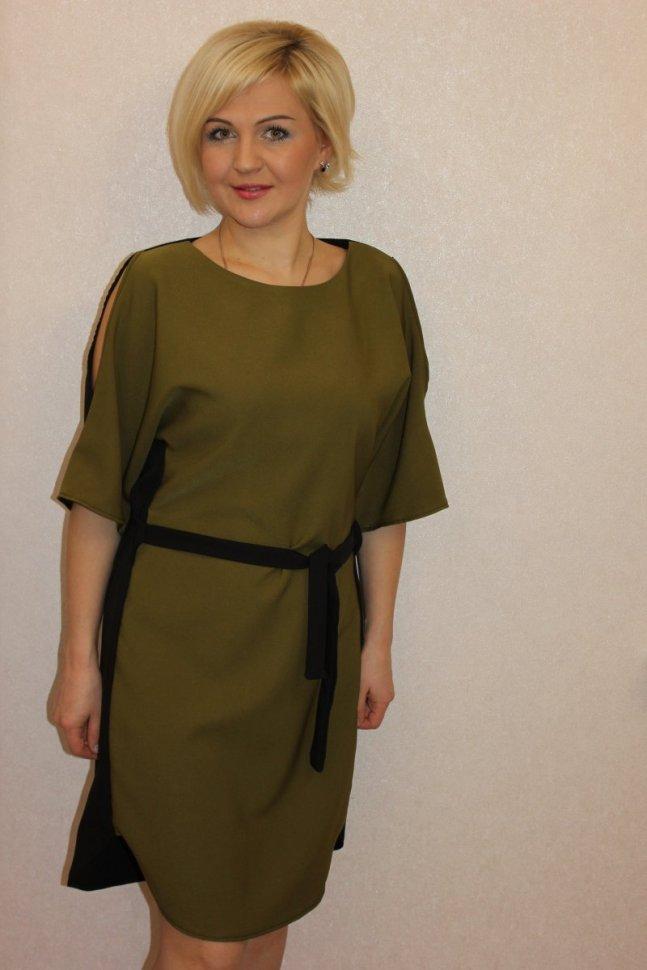 Платье трикотажное Розет (хаки) фото