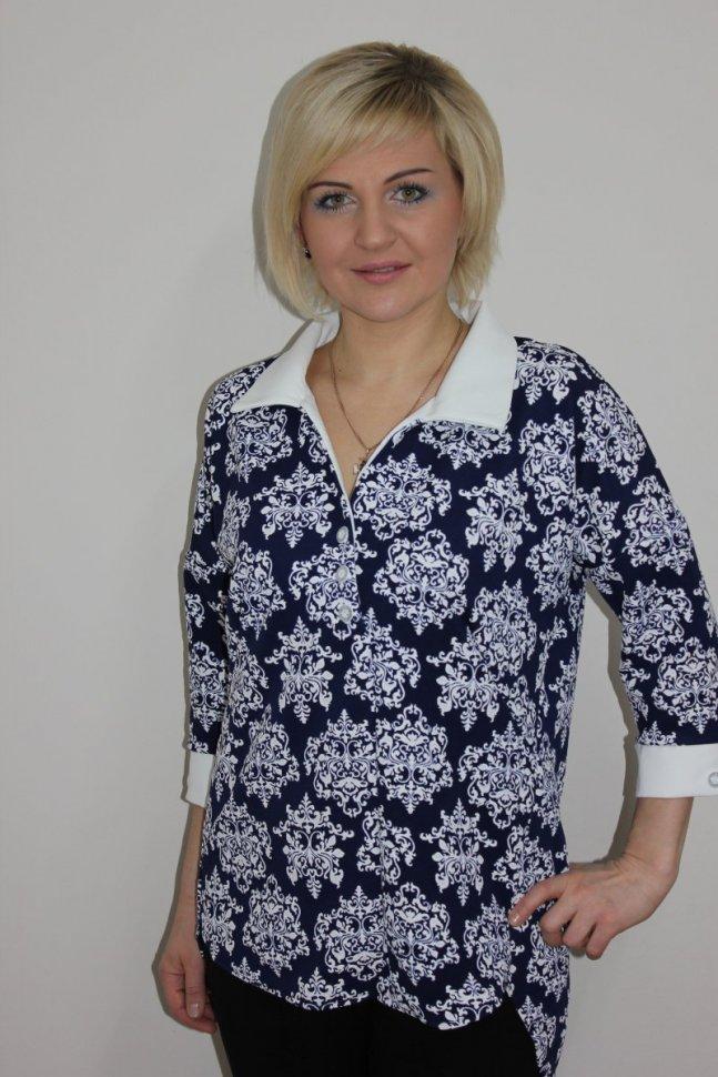 Блуза трикотажная Ирина (синяя) фото