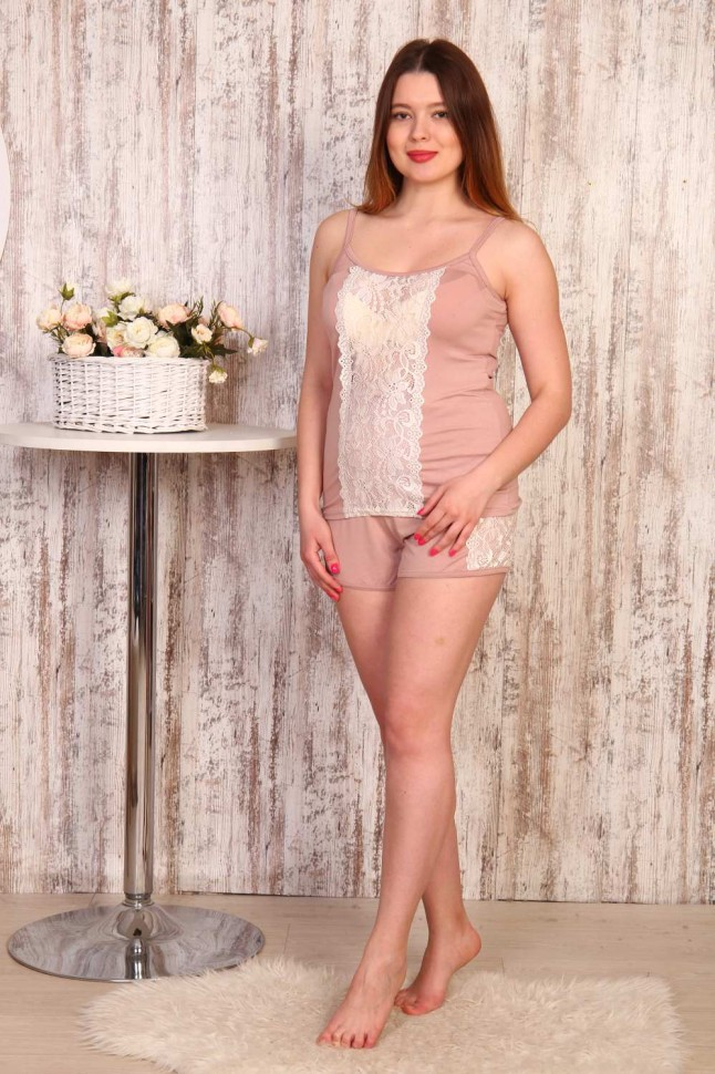Пижама вискозная Сьюзи (пудровая) фото