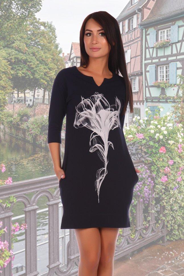 Платье трикотажное Миледи (темно-синее) фото