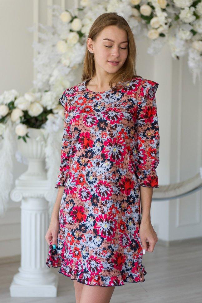 Платье трикотажное Марселия (красно-серое)