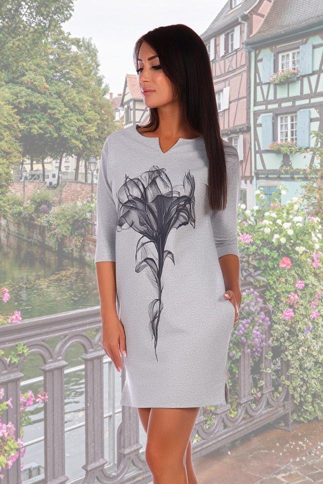 Платье трикотажное Миледи (серое) фото