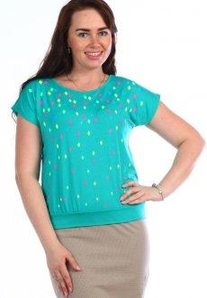 Женская трикотажная блузка Льдинка (изумрудная)