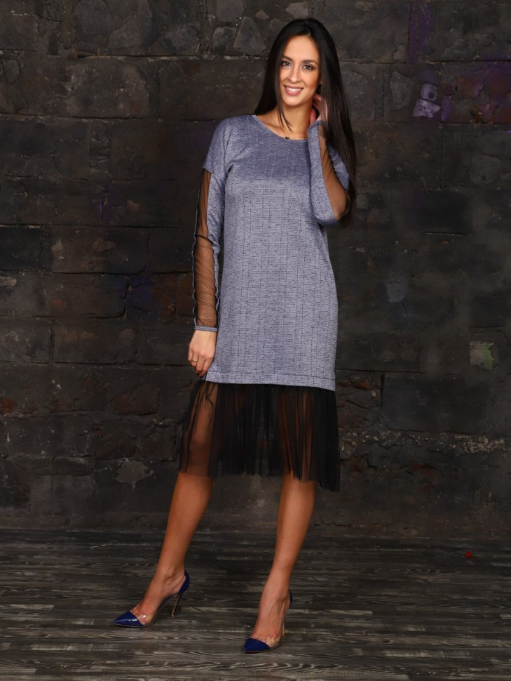 Платье трикотажное Тэсс (голубое) фото