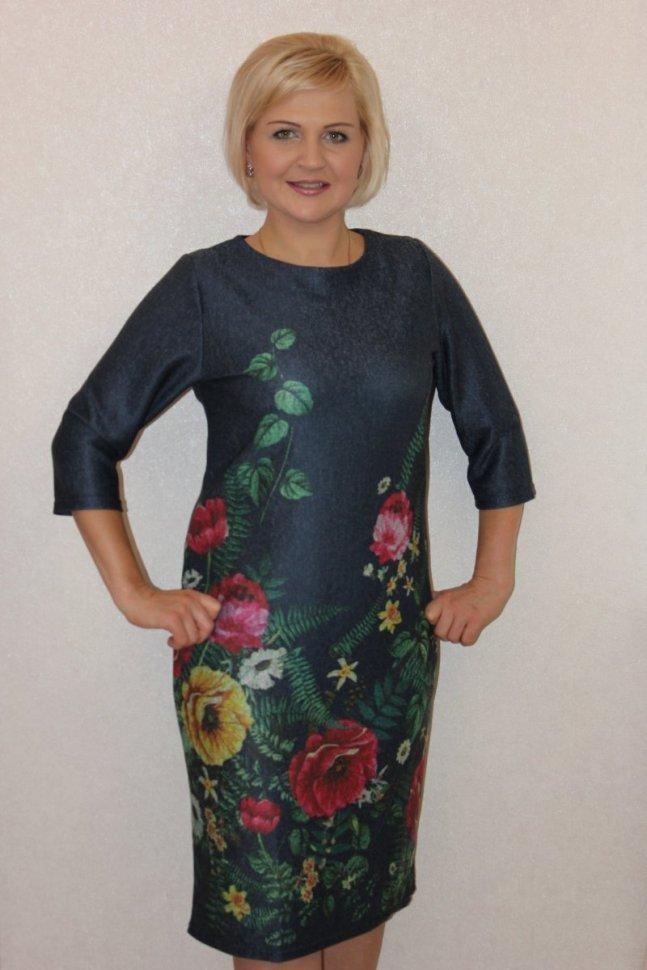 Платье трикотажное Тэйлор (садовые цветы) фото