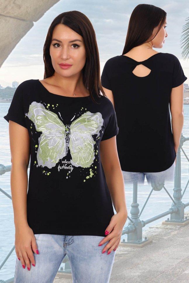 Блуза трикотажная Элегия (черная) фото