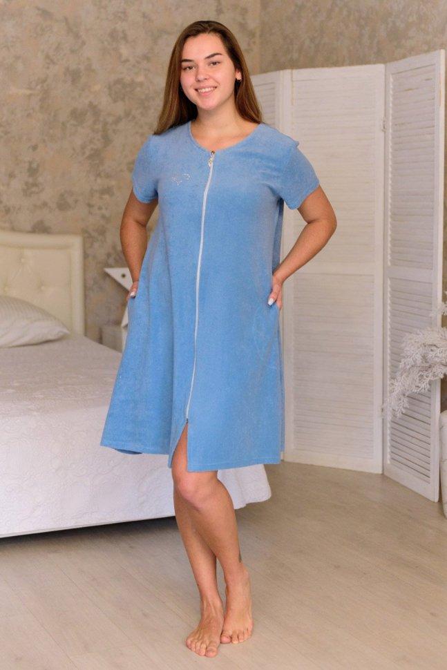 Халат махровый Лиза (серо-голубой)